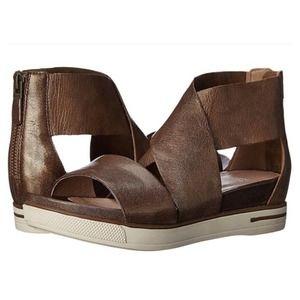 Eileen Fisher Sport Platform Leather Sandal, Brown